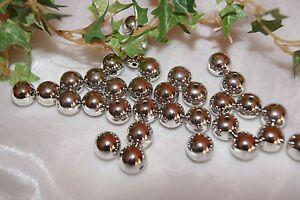 Perlen Bastelperlen 14mm  Dekoration Hochzeit Silberhochzeit metallic silber