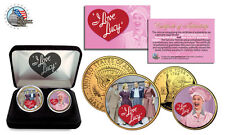 I LOVE LUCY* 24K Gold +COLORIZED USA. Legal  2-Coin Set *Officially Licensed*NEW