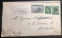 1951 Montreal Canada Registered postal stationery Cover Locally Used