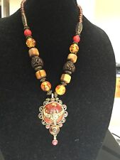 AMAZING WOMEN HEAVY NECKLACE EGYPTIAN REVIVAL BROWN,YELLOW,RED VINTAGE STYLE!WOW