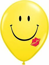 """10pc - 11"""" Yellow Smiley Face Kiss Latex Balloon Party Decoration Decorator Love"""
