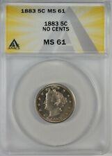 1883 5c Liberty Head V Nickel Coin ANACS MS61 **No Cents**