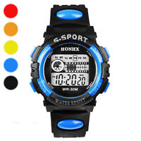 Waterproof Mens Boy's Digital LED Quartz Alarm Date Sports Silicone Wrist Watch