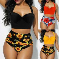 Womens Summer Swimwear Sunflower Print Bikini Split Swimsuit Beachwear Plus Size