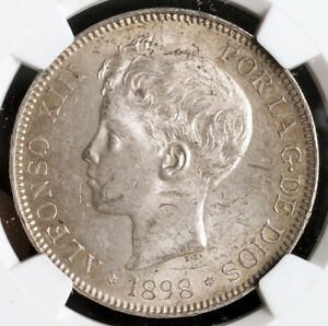 1898, Kingdom of Spain, Alfonso XIII. Large Silver 5 Pesetas Coin. NGC MS-62!