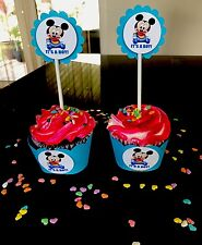 30 BABY MICKEY MOUSE IT'S A BOY 15 Cupcake Toppers And 15 Wrappers Baby Shower.