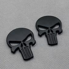 2pcs Black Metal Fender Punisher Skull Badge Logo Rear Lid Trunk Emblem Sticker Fits Jaguar