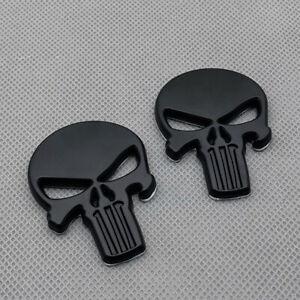 2Pcs Black Metal Fender Punisher Skull Badge Logo Rear Lid Trunk Emblem Sticker