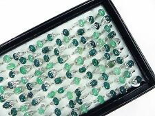 US SELLER-15pcs green agate stone costume fashion wholesale rings lot