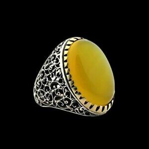 Men Ring Natural Yellow Carnelian Agate Aqeeq 925 sterling silver Sharaf Shams 2