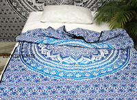 Indian Ombre Mandala Blue Queen Quilt Cotton Filled Reversible Blanket Decorate