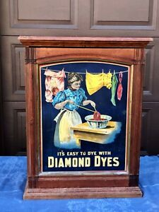 Antique Diamond Dyes Washer Lady Store Display Cabinet Fabric Wood & Tin Litho