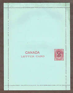 1899 Canada Letter Card UL10a, Type 'B' Fat 2c Overprint Unfolded, Original Gum