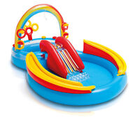 Intex Inflatable Kids Pool,Water Play Center w/Slide + Quick Fill Air Pump