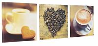 COFFEE Time CUPS Heart Set of 3 Canvas Wall Art Picture Wall Hanging Home Decor