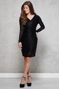 MELA LONDON V Neck Chain Lace Bodycon Black Dress - Size UK12 , BNWT