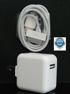 Rapid USB Wall Charger Adapter & 30 Pin USB SYNC Charging Cable for iPad 2nd Gen