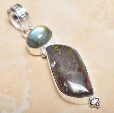 "Handmade Natural Ocean Jasper Gemstone 925 Sterling Silver Pendant 2.5"" #P10870"