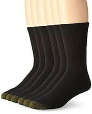 6 Pairs Gold Toe Mens Soft Cotton Standard Crew Athletic Sport Socks Black 10-13