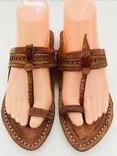 BOHO FESTIVAL Flip Flop Thong Brown Leather Flat  Sandals Tassel Stitched Size 6