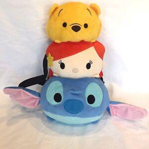 "Tsum Tsum DISNEY Little Mermaid Winnie The Pooh Stitch Plush Backpack 18"" NWT"
