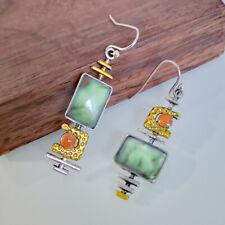 Vintage Turquoise Two Tone Dangle 925 Silver Women Wedding Jewelry Hook Earrings