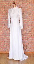 Genuine Vintage Wedding Dress Gown 70s Retro Victorian Edwardian Style UK 8