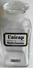 "Rare Vintage Upjohn Unicap Multivitamins 4"" Bottle with All Glass Stopper -# 601"
