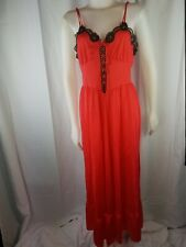 Vintage Sears Woman L Red Black Tie front Nylon Lace floral full Slip gown strap