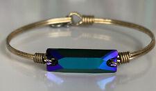 Luca + Danni Blue Iridescent Ultramarine Blue Bangle Bracelet Gold Regular Size