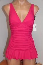 New Profile by Gottex Swimsuit 1 one piece Sz 8 Rose swim dress skirt
