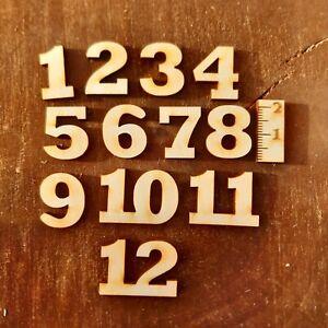 Deutsche Zahlen 1 bis 12 aus Holz 20 mm Höhe Uhr Basteln Deko Arabische Ziffern