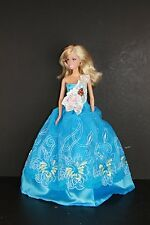 Blue Gown with One White Lace Sleeve Made to Fit Barbie Doll