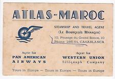 BIGLIETTO DA VISITA ATLAS-MAROC CASABLANCA AGENT PAN AMERICAN AIRWAYS 13-234