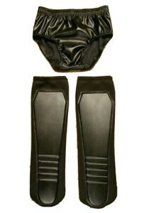 KICKPADS and TRUNKS Matching Set of Wrestling Gear - Flat Black - NEW Fast Ship
