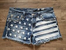 Miss Me Size 30 Patriotic American Flag Independence Day Jean Shorts Distressed