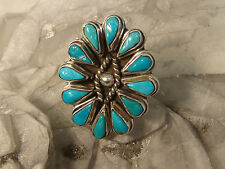 ZUNI TURQUOISE STERLING RING PETIT POINT FLOWER ARTISAN HANDCRAFTED SIZE 5 3/4