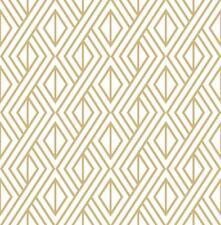 Wallpaper Retro Modern Geometric Metallic Gold Ink on White Background