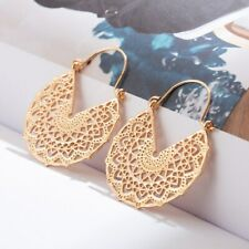 Gold Hollow Dangle Drop Earrings Women Round Weeding Hanging Jewelry Boho Ethnic