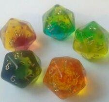 Gem blitz dice D20 assorted colours x5