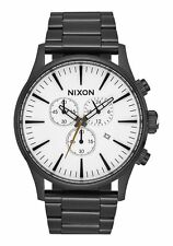 New Nixon The Sentry Chronograph White Dial Black PVD Mens Watch A386756