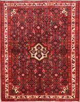 """One-of-a-kind Traditional Hamadan Oriental Hand-Knotted 4' 9"""" x 3' 8"""" Wool Rug"""
