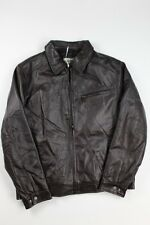 Boston Harbour Men's James Dean Leather Bomber with Shirt Collar, Brown, Large