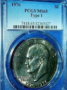 "1976 $1 Type 1 ""Ike"" Eisenhower Dollar-PCGS #7418 Grade MS65 Type 1--229-1"