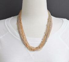 "Gold Silver Rose 18-strand necklace 2"" long statement piece necklace mesh chain"