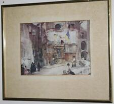 Watercolour Painting Print 'The Town Flag Sospel' Framed - FREE Postage [PL1504]