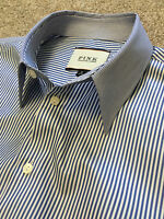 WORN ONCE THOMAS PINK CONTRAST COLLAR BLUE BENGAL STRIPE WEEKEND SHIRT S SMALL