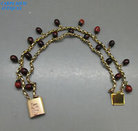 VICTORIAN EXOTIC BEADED SOLID 18K GOLD BELCHER LINK BRACELET 12.2g 19CM c1870