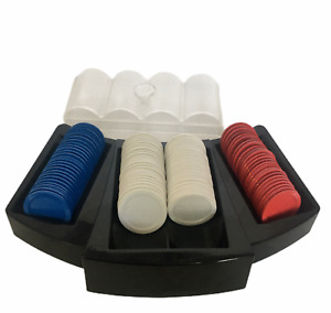 Poker Chips with Storage Container and Table Tray for Play Red Blue White 99