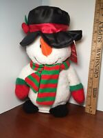 """Christmas Animated Snowman Sings """"Jingle Bell Rock"""" Spins And Sings 11"""" Tall"""